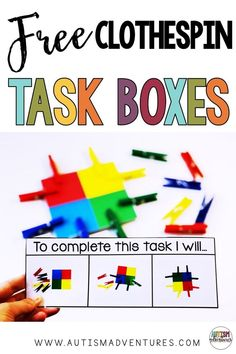 Free clothespin task box ideas for a special education TEACCH program