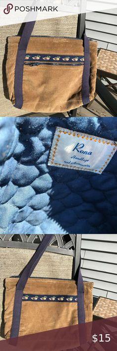 tan corduroy purse handbag mallard ducks by Rona Very good condition; smoke-free home. Mallard, Ducks, Purses And Handbags, Corduroy, Gym Bag, Shop My, Smoke Free, Drop, Best Deals