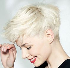 short platinum blonde hairstyle More