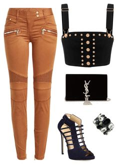 """RoseGold"" by gemagarczamb on Polyvore featuring Balmain, Giuseppe Zanotti, Yves Saint Laurent and Giorgio Armani"