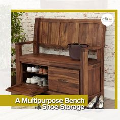 Searching for a #bench with #shoe #storage You will love this Beautiful Baumhaus Shoe Storage that serves 2 purposes of Storage & #seating.