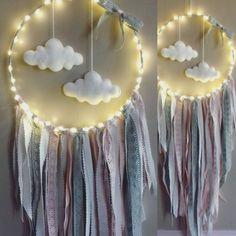 With a macrame hanging and no clouds Diy And Crafts, Crafts For Kids, Arts And Crafts, Los Dreamcatchers, Dream Catcher Mobile, Dream Catchers, Diy Tumblr, Creation Deco, Ideias Diy