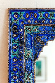 I love this #Moroccan blue mirror frame! #Interiors #Decor