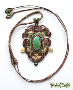 "Macramè necklace ""Sacred Spirals"" with Amazonite and Chrysocolla beads"
