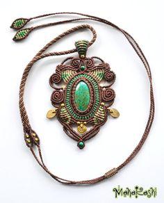 Macramè collier « Spirales sacré » avec des perles d