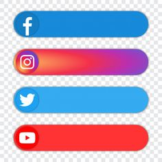 Set of of popular social media logo - fa. Facebook And Instagram Logo, Instagram Twitter, Logo Instagram, Logo Facebook, Logo Youtube, Intro Youtube, Youtube Channel Art, Youtube Banner Template, Youtube Banners