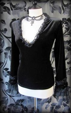 Gorgeous Gothic Plush Black Velvet Chiffon Ruffle Top 12 Romantic Vampire Goth | THE WILTED ROSE GARDEN on eBay // Worldwide Shipping Available