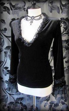 Gorgeous Gothic Plush Black Velvet Chiffon Ruffle Top 12 Romantic Vampire Goth | THE WILTED ROSE GARDEN on eBay // Worldwide Shipping Available