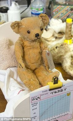 One of Britain's last 'teddy bear hospitals' reveals surge in patients - - One of Britain's last remaining 'toy hospitals' is experiencing a surge in demand for broken teddy bears as people realise the value in heirloom toys. Teddy Bear Hug, Old Teddy Bears, Teddy Bear Cakes, Knitted Teddy Bear, Vintage Teddy Bears, Teddy Bear Sewing Pattern, Bear Felt, Hospitals, Union Jack