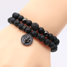 8mm Gold Plated Micro Pave CZ Cubic Zirconia Lion Head Charm Bracelets  Black Lava Rock Stone Male Bead Bracelet For Men SL2-1