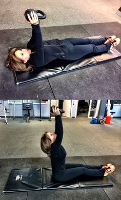 1. 20 lb kettlebell aright arms above face, sit up keeping arms straight to ceiling, return to original position. Whatever you do, don't drop it!!!! 15 reps, 3 circuits