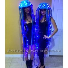 LED Jellyfish - Halloween Costume Contest at Costume- Desiree: It seemed a little ambitious at first to create LED-lit jellyfish costumes that would be believable and funny, yet cute. But I am so pleased with how they turned out. Jellyfish Halloween Costume, Homemade Halloween Costumes, Halloween Costume Contest, Christmas Costumes, Couple Halloween Costumes, Diy Halloween Costumes, Costume Ideas, Dark Costumes, Jellyfish Drawing