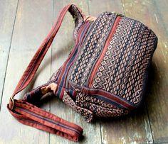 Navy and Tan Tribal Ethnic Naga Embroidered #Crossbody Bag by Siamese Dream Design,  #manbag #vegan #Naga #Tribal