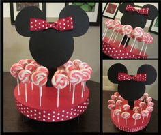 Minnie Mouse Inspired Cake Pop or Lollipop Stand traded for Mickey Minnie Mouse Theme Party, Fiesta Mickey Mouse, Minnie Cake, Minnie Mouse Baby Shower, Mickey Mouse Clubhouse Birthday, Mickey Mouse Parties, Mickey Party, Mickey Mouse Birthday, Mickey Cakes