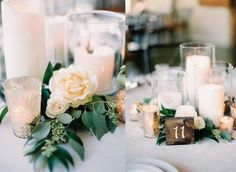 27 Beautiful Wedding Candle Centerpieces Ideas - Page 2 of 27 - VimDecor Table Decoration Wedding, Decoration Chic, Reception Decorations, Greenery Centerpiece, Candle Wedding Centerpieces, Floral Centerpieces, Centrepieces, Eucalyptus Centerpiece, Centerpiece Ideas