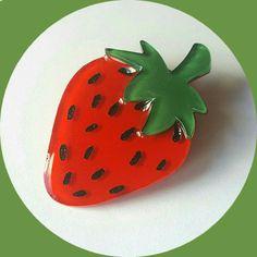 Strawberry Brooch, Vintage Inspired, Novelty brooch, Rockabilly, Pinup, Fruit…