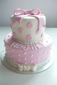 1st Birthday Cake Ideas for Girls pink and white bow