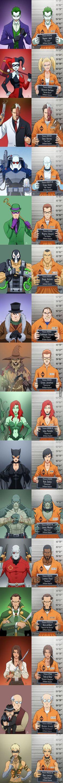 Arkham Sylum : Joker, Harley Quinn, two face,Mr Freeze,the Riddler,Bane, Penguin,Scarecrow, Poison Ivy, Catwoman, Killercroc,Deadshot, Ra's al Ghul,talia al ghul,the ventriloquist, copperhead