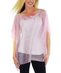 Look at this Pink Crocheted Sparkle Cape-Sleeve Sweater on #zulily today!