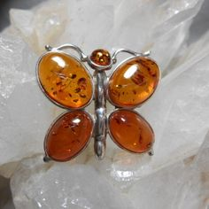 Pendant Natural Baltic Poland Amber Butterfly Sterling Silver New #PD330225 - $38.95