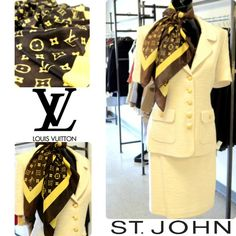 This St. John suit and Louis Vuitton scarf create the most sophisticated look for your day at the office or an afternoon buisness meeting. We have an excellent selection of suits and professional attire here at FLIP, so stop in for all your fashion needs! We're open Mon-Sat (10am-7pm). Featured items: St. John skirt suit (6) $228 Louis Vuitton scarf $188 Armani tank (sm) $49 - #nashville #hip2flip #consignment #flipnashville #stjohn #louisvuitton #armani