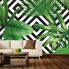 Palms Over Diamonds Wall Mural - WallsNeedLove Wallpaper for the wall design and ideas