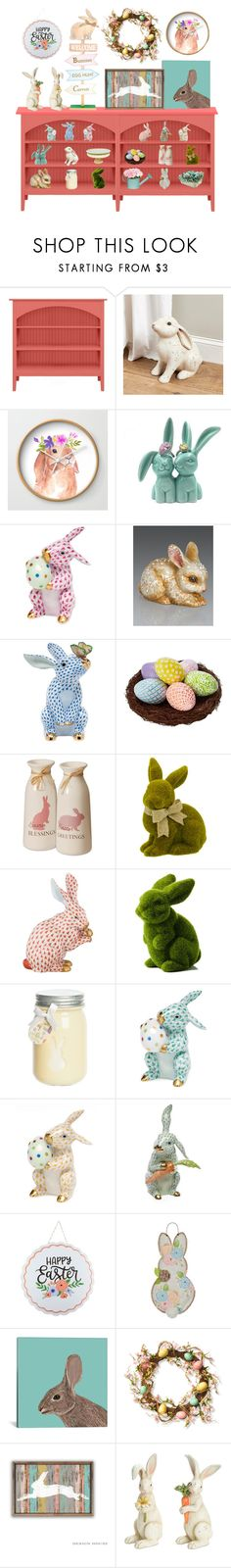 """""""Easter Vignette"""" by shannon-brennan ❤ liked on Polyvore featuring interior, interiors, interior design, home, home decor, interior decorating, Ballard Designs, Herend, Jay Strongwater and iCanvas"""