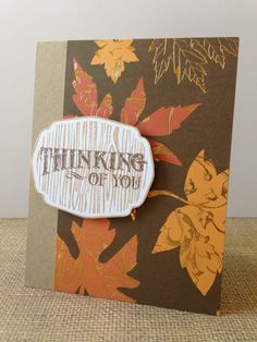 Gold Leaves Kraft Fall Thinking of You Card by MyPrettyPaper from myprettypaper.etsy.com