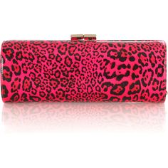 Jimmy Choo Tube leopard-print patent leather clutch ($495) ❤ liked on Polyvore featuring bags, handbags, clutches, purses, bolsas, accessories, kiss lock purse, pink patent leather purse, leopard clutches et pink clutches