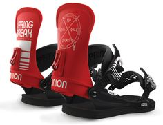 UNION SPRING BREAK SNOWBOARD BINDINGS 2016 - The new Spring Break colab is designed on a Ultra baseplate with a team highback to partner it offering a slightly softer alternative to the Ultra and a slightly stiffer version of the Contact pro. Union Bindings, Snowboard Bindings, Snow Gear, Ski Shop, Snowboarding Gear, Snow Fashion, Extreme Sports, Spring Break, A Team