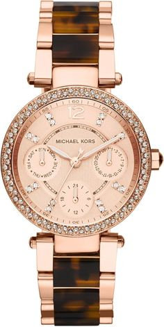 Michael Kors Ladies Parker Rose Gold and Tortoise Shell Watch #MK5841, I need a watch that tells me the day,and is trendy too:)