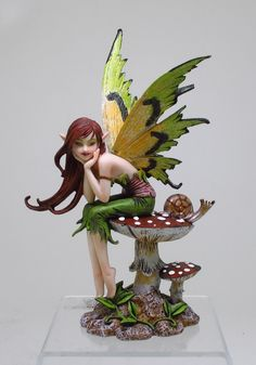 Amy Brown Fairy Figurines | AMY BROWN THINKING OF YOU FAIRY SITTING ON MUSHROOM FIGURINE STATUE ...