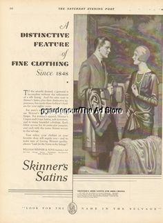 1929 Flapper Girl Skinner's Satins Vintage Fashion George Brehm Art Fashion Ad