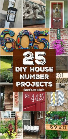 25 Creative And Unique Projects For Beautifully Displaying House Numbers. These are great ways to have your house numbers shown on or around your house! Try making your own home decor with your house numbers! Outdoor Projects, Home Projects, Pallet Projects, Decorating Your Home, Diy Home Decor, Decorating Ideas, Porch Decorating, Room Decor, Ideas Prácticas