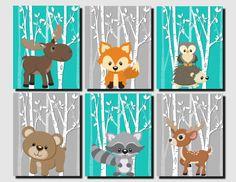 Woodland Kindergarten Woodland Wand Dekor Kinder Teal von vtdesigns