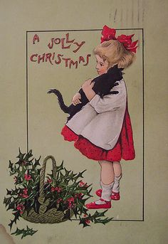 Black kitty makes it from the Halloween postcard right onto the Christmas one!