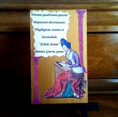 A French late Medieval/early Renaissance image of Helen of Troy from Ovid's Heroides (Heroines) with my original Latin Poem.  Varnished canvas panel comes with mini-easel for immediate display.  From my etsy shop and learn more about the imagery at Facebook.com/bordeauxlanestudio
