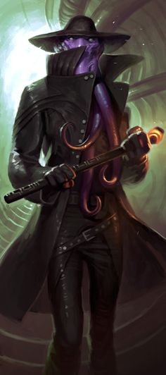 m Mindflayer Illithid Rogue Thief Leather Armor Cloak Magic Rod urban City undercity underdark story Fantasy Races, Fantasy Rpg, Dark Fantasy, Cthulhu, Character Concept, Character Art, Concept Art, Character Ideas, Dnd Characters