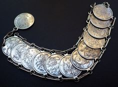 Vintage Horoscope Coin Bracelet by BeautBits on Etsy $100 Coin Bracelet, Bracelets, Horoscopes, Trending Outfits, Unique Jewelry, Handmade Gifts, Silver, Etsy, Vintage