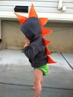 Dino Hoodie -- Easy DIY Halloween costume for Oliver.  May even make a matching one for Vik.