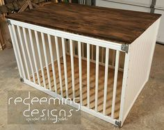 Client found this idea to upcycle an old baby crib into a dog crate.  Even a pallet wood top and reclaimed hindges, just need to add the latches in the middle. #redeemingdesignstn . . . #palletlife #pallets #wood #upcycle #handmade #madeinnashville #reclaimedwood #reclaimed #homedecor #home #decor #nashville #dog #dogcrate #pinterest #dogsofinstagram