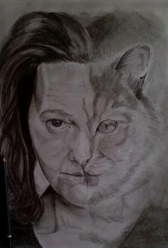 Cat - woman - pencil-drawing -  art