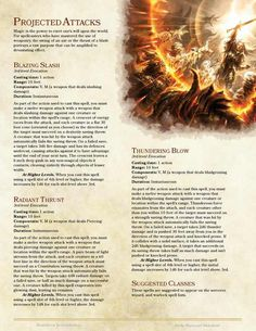 DnD Homebrew — Projected Attacks Spells by belithioben Dungeons And Dragons Classes, Dungeons And Dragons Homebrew, Dnd Classes, Dnd 5e Homebrew, Dragon Rpg, Game Props, Pathfinder Rpg, Dnd Monsters, Tabletop Rpg