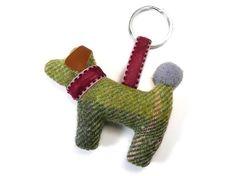 Dog Keyring - Moss Tweed Fair Trade Jewelry, Jewelry Roll, Lilac, Pink, Velvet Ribbon, Green And Grey, Tweed, Dinosaur Stuffed Animal, Rolls