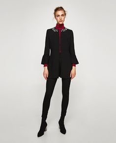 ZARA - COLLECTION AW/17 - FROCK COAT FAUX PEARL-STUDDED NECKLINE