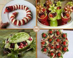 Amazing food art… - New Sites Cute Food, Good Food, Yummy Food, Food Design, Fruit Animals, Animal Food, Amazing Food Art, Food Carving, Snacks Für Party