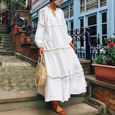 7f02434d9f95 Lantern Sleeve Hollow Out Maxi Dress Spring Dresses