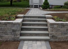Steps in the middle of a retaining wall.