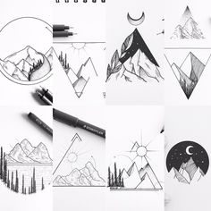 Tattoo Geometric Mountain Tatoo Ideas For 2019 Et Tattoo, Tattoo Und Piercing, Tattoo Stars, Tattoo Wings, Tiki Tattoo, Wolf Tattoos, Tatoos, Image Tatoo, Meer Illustration