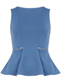 Blue zip peplum top   #DorothyPerkins Petite Outfits, Cute Tops, Tunic Tops, Peplum Tops, Blouse Designs, Chiffon Tops, Dresses For Work, Work Outfits, Polyvore